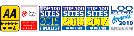 AA 5 Pennant, Cymru Wales 5 Star Touring and Holiday Park, Top 100 Sites Finalist 2015, Loo of the Year Awards 2019