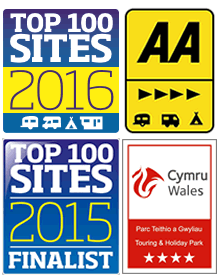 AA 4 Pennant, Cymru Wales 4 Star Touring and Holiday Park, Top 100 Sites Finalist 2015, Top 100 Sites 2016